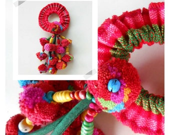 Colorful Ethnic Ponytail Tribal hair Accessory Pom poms Thailand Handmade. JH1001