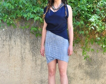 On Sale was 58 now 23 usd/Twisted hem skirt Asymmetrical Draped Miniskirt Fitted jersey pencil skirt Light Blue Tie Dye high waisted skirt