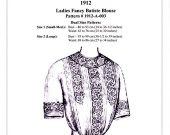 Digital Antique Sewing Pattern ~ Lovely Edwardian 1912 Titanic Era Blouse ~ in PDF format to Print at Home - Dual Sz Sm/Med & Large