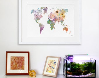 Colorful World Map Art Watercolor Painting - 16x20 Canvas Art Print, Map Art, World Map Watercolour - Wall Decor, Home Decor Wall Art, Gifts
