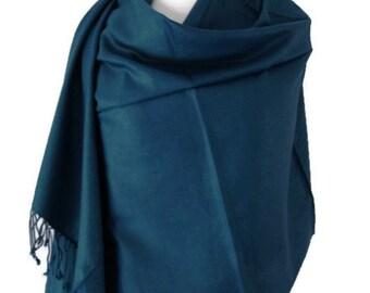 Teal Pashmina , Blue Scarf Wrap Shawl , Petrol Blue Jade Teal Large Scarf , Fair Trade Handwoven