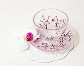Cherry Blossom Cup and Saucer Teacup Set Gift for Women Mothers day gift