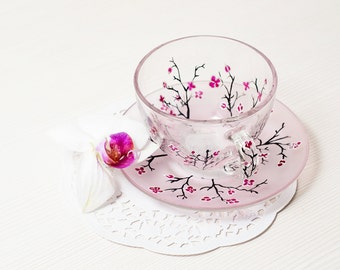 Cherry Blossom Cup and Saucer Teacup Set, Gift for Women Mothers day gift, Blush pink mug