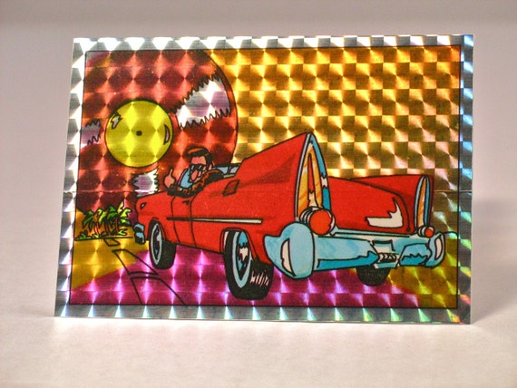 Prism Car: 80s Prism Sticker Classic Car Grease 50s Retro By