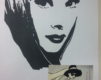 Audrey Hepburn Print from Original Charcoal Drawing Breakfast At Tiffany's Holly Golightly Funny Face