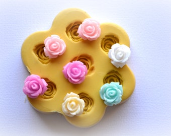 0841 7 Tiny Roses Silicone Rubber Flexible Food Safe Mold Mould- decoden, wedding cake, cupcake topper, clay, resin, fondant, candy, jewelry