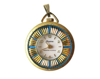 Lucerne Wind Up Necklace Pendant Blue Enamel Wtih Gold Sunbursts Swiss Made Working Condition - Mechanical Watch - Mid Century Watch