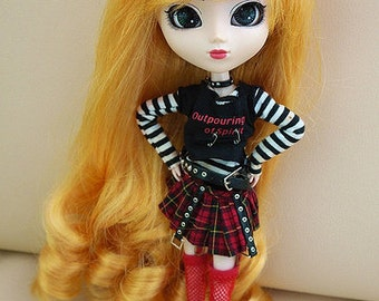 Yellow Blonde Curly long wig  for Pullip Dolls 1/3 Head size