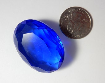 Large Glass Gem 40x30 Oval Crystal Ruby Aqua Cobalt Blue Vintage