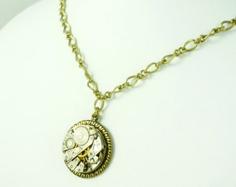 Steampunk Necklace, Neo-Victorian with vintage Fairfax watch movement by VictorianFolly