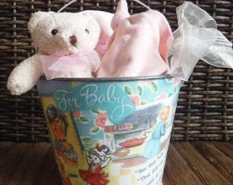 Vintage Inspired Sand Pail ~ Vintage Nursery Decor ~ Vintage Sand Pail - Shabby Chic Nursery - Vintage Baby Gift Packaging Basket
