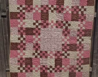 Pink and mocha checkerboard quilt ON SALE!!