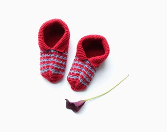 home slippers - knitted house shoes - cashmere wool red bedroom slippers - gift for women - red knits accessory - patterned slippers