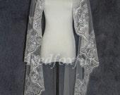 Modern stylish mantilla bridal veil lace wedding veils150cm length  elbow fingertip length in ivory or white