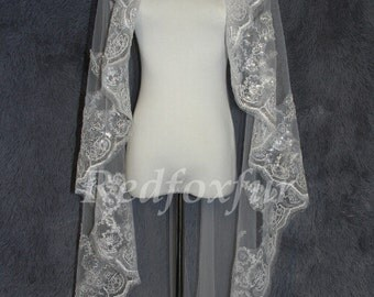 Modern stylish mantilla bridal veil lace wedding veils150cm length  elbow fingertip length in ivory or white