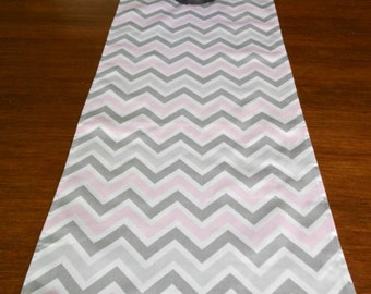 GRAY PINK TABLE Runner 12 x 60 Gray Pink Chevron Table Runners silver Wedding Showers Decorative Grey Holiday Table Runner Cloth