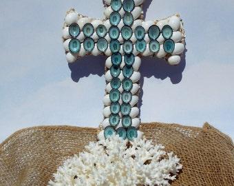 Blue and White Beach Cross -Blue Paradise Seashell Cross