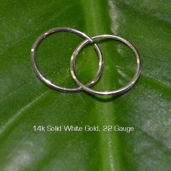 Solid Gold Tragus Earring - Nose Ring Stud - Cartilage Hoop Earring - Helix Piercing - Daith Earring - 22g Rook Hoop - Septum Ring 22 gauge
