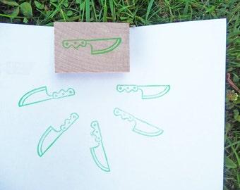 Kitchen knife hand carved rubber stamp