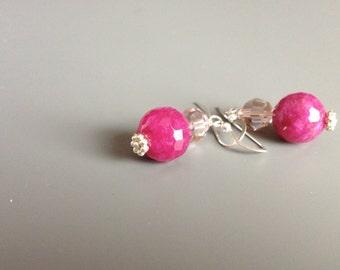Fuchsia Earrings, Fuchsia Dangles, Pink Dangles, Hot Pink Earrings, Hot Pink Dangles, Fuchsia Agate and Crystals Earrings
