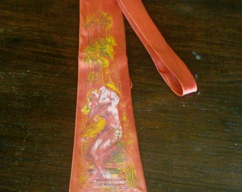 REDUCED 1940s Rayon Satin Pin Up Print Necktie by Arco Classic