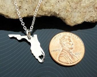 Tiny Sterling Silver Florida Necklace / Custom Heart / Small Florida Necklace / Love Florida / State Necklace / Florida Wedding