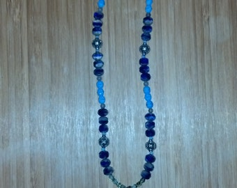 blue and silver beaded glass owl necklace