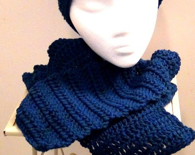 Crocheted Scarf - Rich Blue Peacock - Denim Blue Winter Accessory
