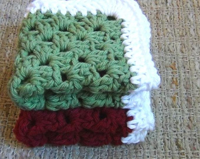 Washcloths - Dishcloths - Set of 2 Cotton Crocheted Washcloths / Dishcloths