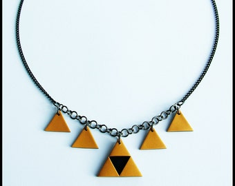 Triforce necklace / The legend of Zelda necklace / Black and gold / Handmade Polymer clay necklace / Charm necklace / Princess Zelda