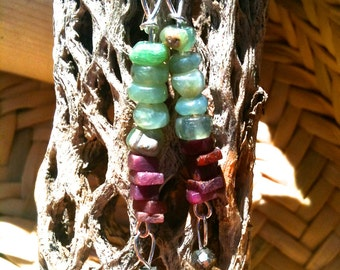 Blue Opal and Ruby gemstone art earrings with sterling silver, quartz and pyrite