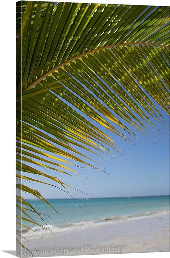 Palm Tree Canvas Art, Canvas Gallery Wrap, Ocean Landscape, Beach Photography, Beach Photo Canvas, Ocean Wall Art, Blue Home Decor, Tropical