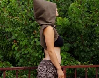 PostApocaliptic Kid - Steampunk Reversible Vest, Burning Man, Festival Clothing, Pixie Vest, Elven Fairy Vest, Hoodie Vest