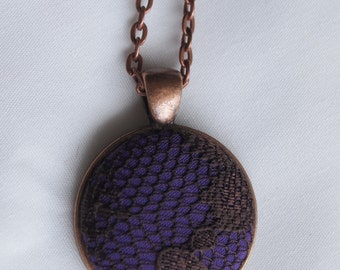 Purple and brown lace fabric covered buttons 1 inch pendant necklace in silver, gunmetal, bronze, copper,