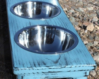 Triple SMALL Raised Dog Bowls, 3-3/4 Quart, Shabby Chic U-Choose Color, Elevated Cat Dish, 3,4,5,or 6inch Tall, Made to Order, QUALITY