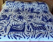 Stunning Tenango hand embroidered #Otomi 6'X6' BLUE Pantone 2768 U less saturated