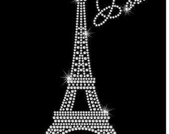 Paris Eiffel Tower Ooh La La Rhinestone Bling Iron on Heat Transfer