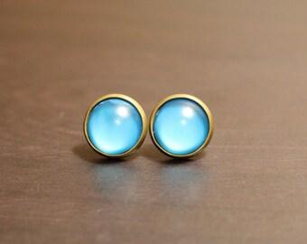 Teal Earrings - Antique Bronze Stud Earrings