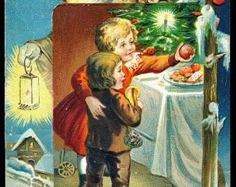 Santa Claus in Brown Robe 1908 Christmas Postcard