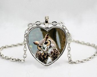 Horned Owl // Tiger Owl // Large Owl // Owl Pendant Necklace // Owl Jewelry // Bird Necklace