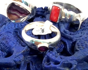 Size 10 Sterling Silver Ring. Purple Fluorite, Amethyst or Red Coral. free US ship