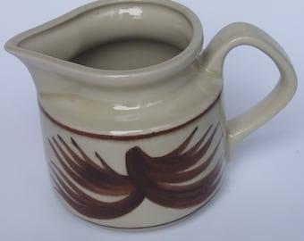 SALE: Hand painted Milk Jug Vintage Cream Choc Brown Milk Pitcher Jug Polish Ceramic Bohemian Polish folk craft Polish pottery Cottage chic