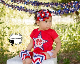 Chevron Initial Star - Girls Personalized 4th of July Applique Shirt & Matching Hair Bow Set with Add On Chevron Leg Warmers