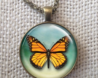 Monarch Butterfly Necklace Handmade Glass Art Pendant Jewelry.