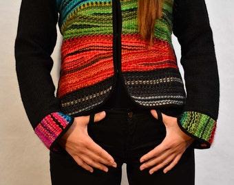Black wool jacket, Hand knit coat, Loom jacket, Knitted sweater jacket, loom weaving jacket