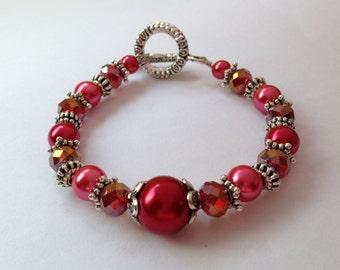 "Brides ""The BIG Day"" Cranberry - Vintage Style Bridal Bracelet"