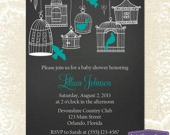 Turquoise Baby Shower Invitation - Hanging Bird Cages Baby Shower Invite - Boy Baby Shower Invite - Chalkboard Baby Shower - 1157 PRINTABLE