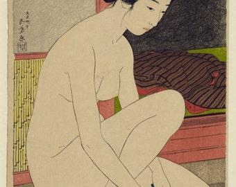 Woman bathing by Goyo Hashiguchi, Japanese woodblock print