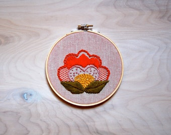 Embroidery Hoop Art / Flower Blossom / Handmade / Embroidered Wall Art / Ready to Ship