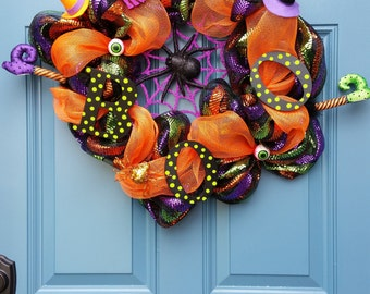 Halloween Wreath, Deco Mesh wreath, Spooky